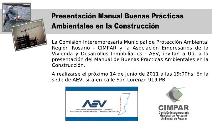 """CHARLA DIFUSIÓN MANUAL DE BUENAS PRÁCTICAS AMBIENTALES EN LA CONSTRUCCIÓN"""" AEV-CIMPAR"""