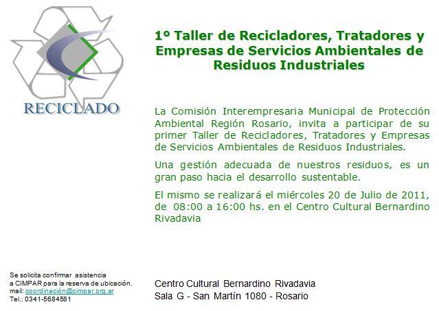 1º Taller de Recicladores, Tratadores y Empresas de Servicios Ambientales de Residuos Industriales